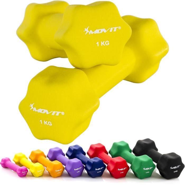 MOVIT Lot de 2 haltères en néoprène jaune (2x1kg)