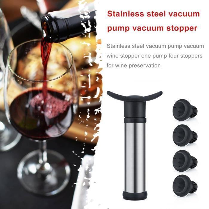 Coffret Vacu Vide Sommelier avec 4X Bouchons Triple Flange - La Meilleure façon de Conserver Son Vin - Black Edition (Argenté)