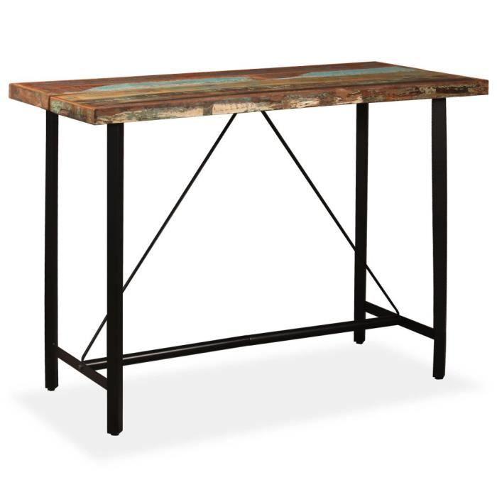 6971®TOP Magnifique Table de Bar Haute Table de Comptoir-Table de Bar Extérieur-Mange-debout Cuisine Bois massif de récupération 150