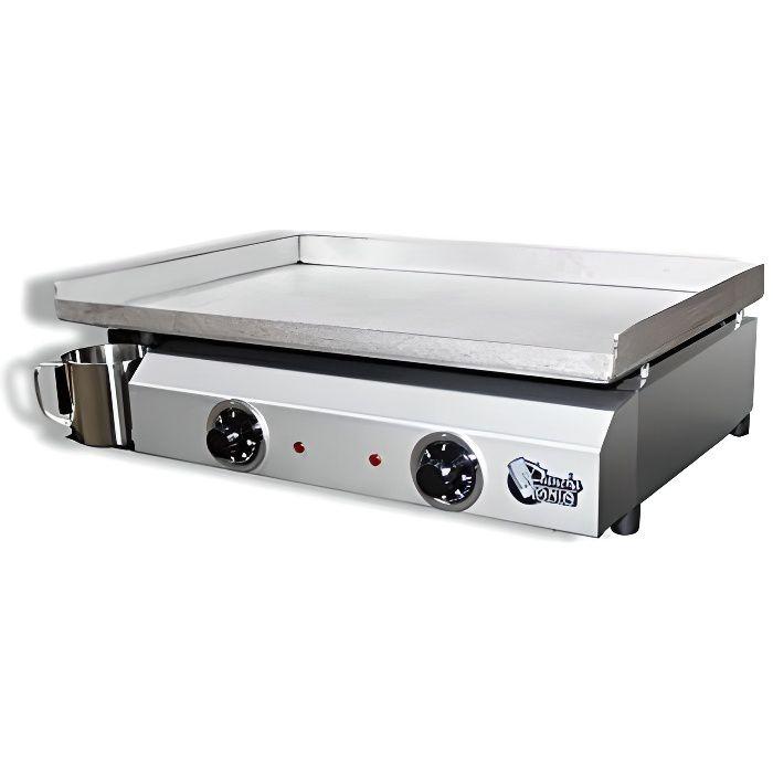 Plancha TONIO Plancha Electica 6 à 12 Personnes Electrique 220-230V-Plaque De Cuisson INOX 4 mm-Caisson Inox-3000W-Thermostat
