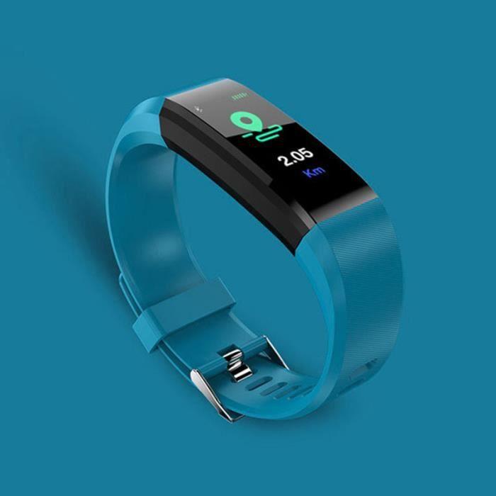 SHOP-STORY - Bracelet Montre connectée Tracker d'activités - Bleu
