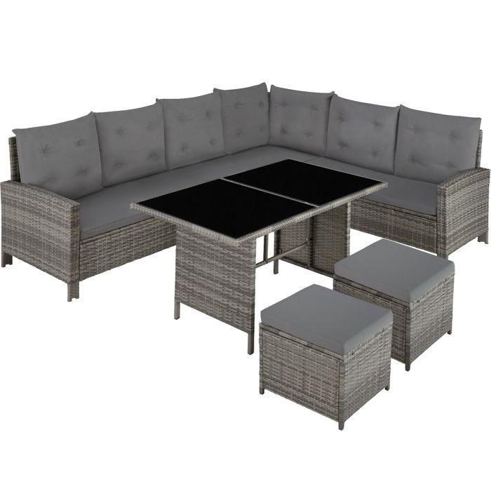 TECTAKE Salon de jardin BARLETTA Modulable 1 Canapé d'angle, 1 Table, 2 Poufs Tabourets en Résine Tressée Gris Beige