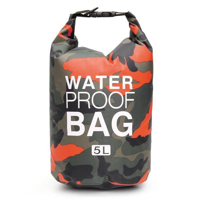 TEMPSA 5L Sac Étanche Imperméables Dry Bag Sac Pour Activités de Plein Air et Sports Aquatiques Orange