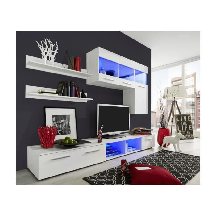Meuble TV mural modulable blanc brillant à led Polo 7 - Achat / Vente ...