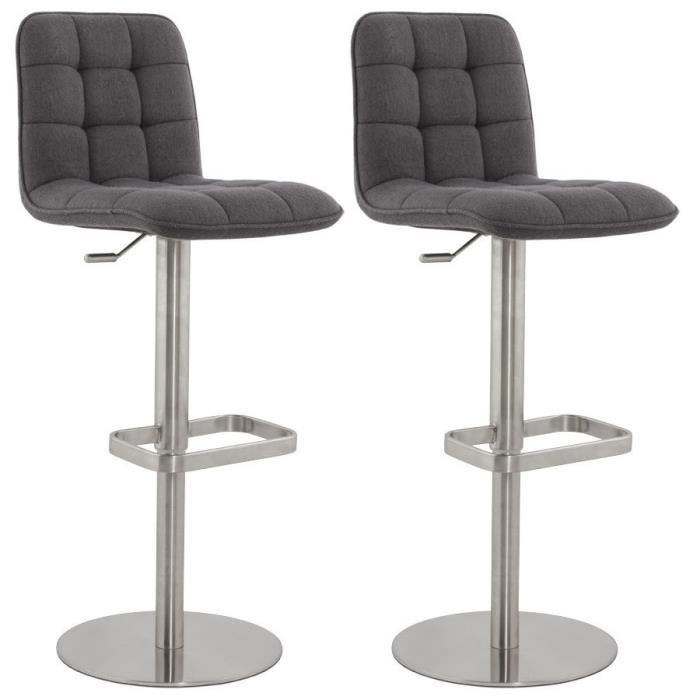 luxe lot de 2 tabouret de bar tissu gris achat vente tabouret de bar cdiscount. Black Bedroom Furniture Sets. Home Design Ideas