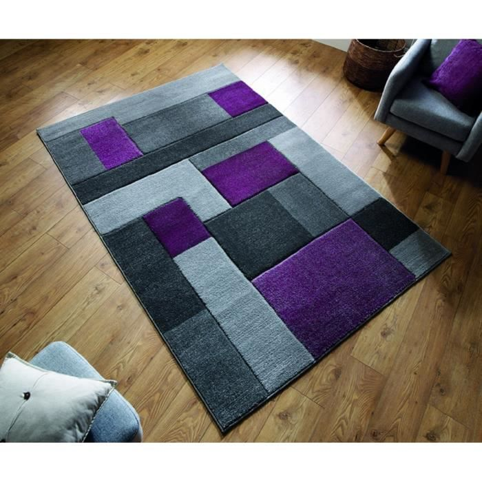 NOVATREND - Tapis de salon design SPACE - Violet - 160x230 cm