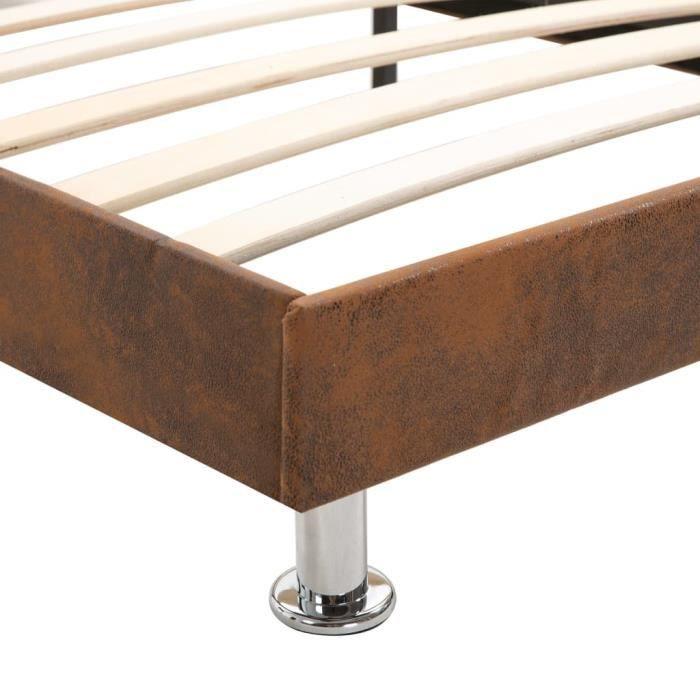 Festnight Lit Fer Forge Cadre Lit Double En Metal Design Cadre De Structure Metallique Cadre De Lit Marron Tissu 160 X 200 Cm
