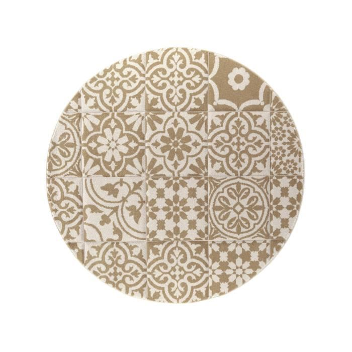 benuta tapis rond patchwork mosaico blanc 160 cm rond achat vente tapis cdiscount. Black Bedroom Furniture Sets. Home Design Ideas