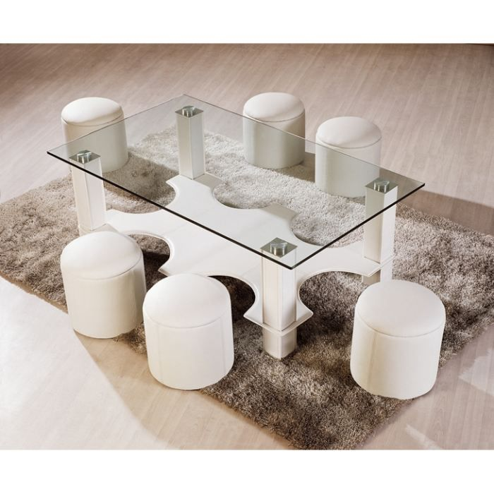 table basse avec 6 poufs galo en verre blanc achat. Black Bedroom Furniture Sets. Home Design Ideas