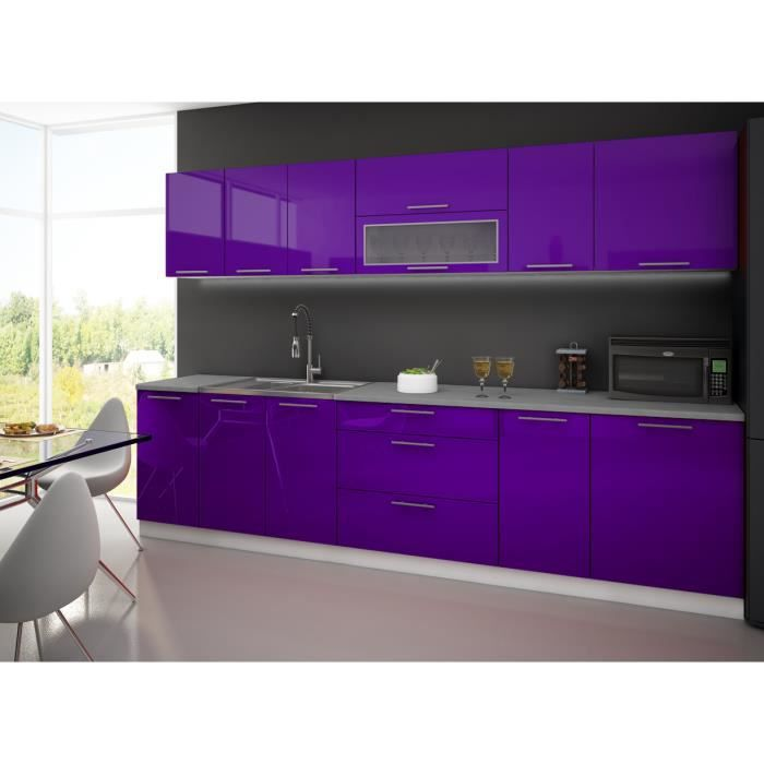 cuisine complete 3m aubergine fermeture verin achat vente cuisine compl te cuisine complete. Black Bedroom Furniture Sets. Home Design Ideas