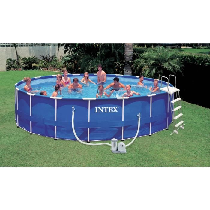 Kit piscine tubulaire m tal ronde 5 49 x 1 22 m achat for Piscine tubulaire 1 22