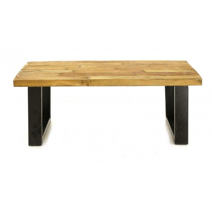 table basse rectangulaire bois recycl et m tal 120 cm. Black Bedroom Furniture Sets. Home Design Ideas