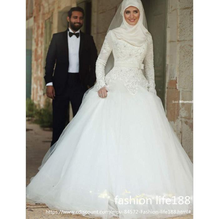 Luxe musulman belle robe de mariée à manches