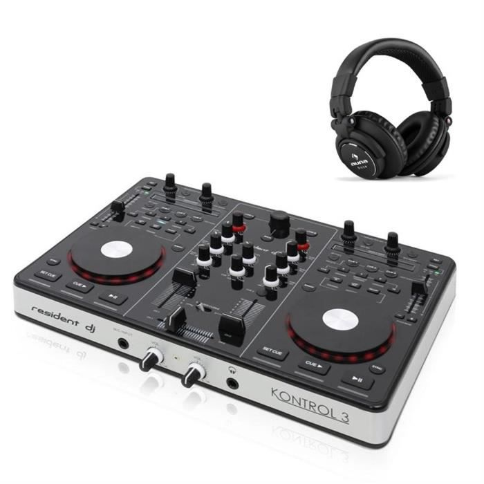 resident dj kontrol 3 contr leur usb midi casque table. Black Bedroom Furniture Sets. Home Design Ideas