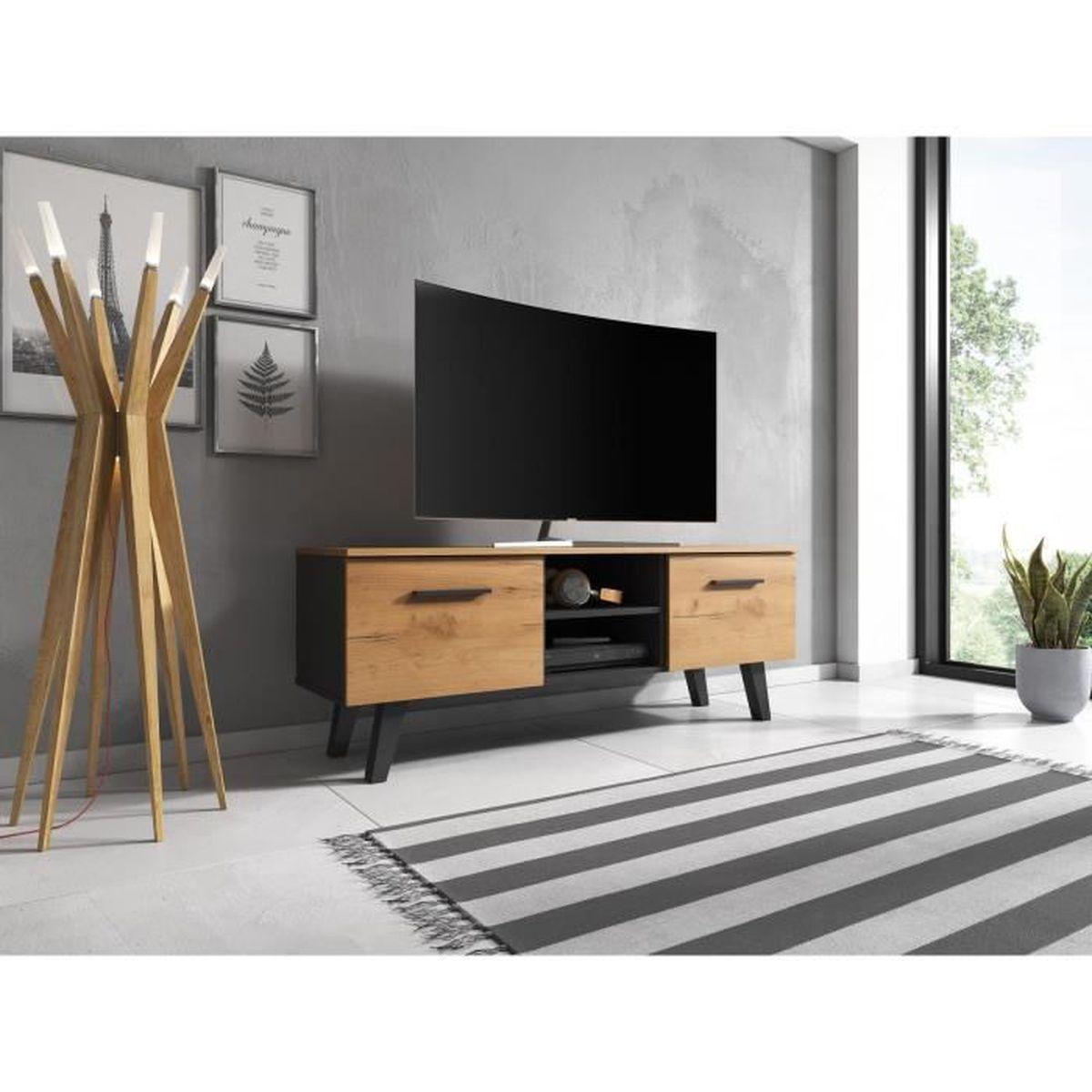 Meuble Tv Grande Taille vivaldi meuble tv - nord - 140 cm - noir / kraft or - style
