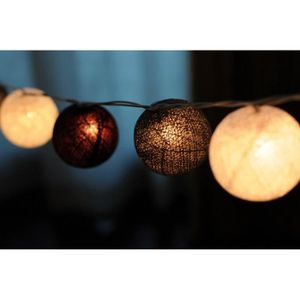 GUIRLANDE LUMINEUSE INT Guirlande lumineuse 10 boules LED Noir Gris Blanc
