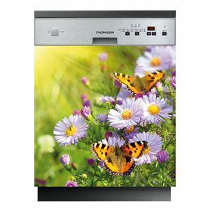 Sticker lave vaisselle électroménager déco cuisine Fleur reflet 60x60cm réf 013