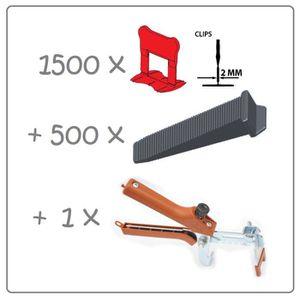 CARRELAGE - PAREMENT Kit 2mm 1500clips+500coins+pince metal Raimondi. P