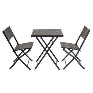 CHAISE Ensemble table et chaises de balcon jardin en poly