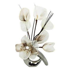 VASE - SOLIFLORE Flourish Vase avec fleur Crème QH1 café Chromé/arg