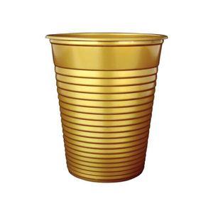 VERRE JETABLE 50 Gobelets en plastique or métallisé 200 ml