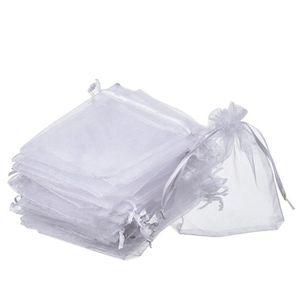 DEOMOR 100pcs 9 x 7cm Pochette Poche Sac Sachet Blanc Transparent en Organza pour D/écoration Cadeau Mariage Bijou Bonbon