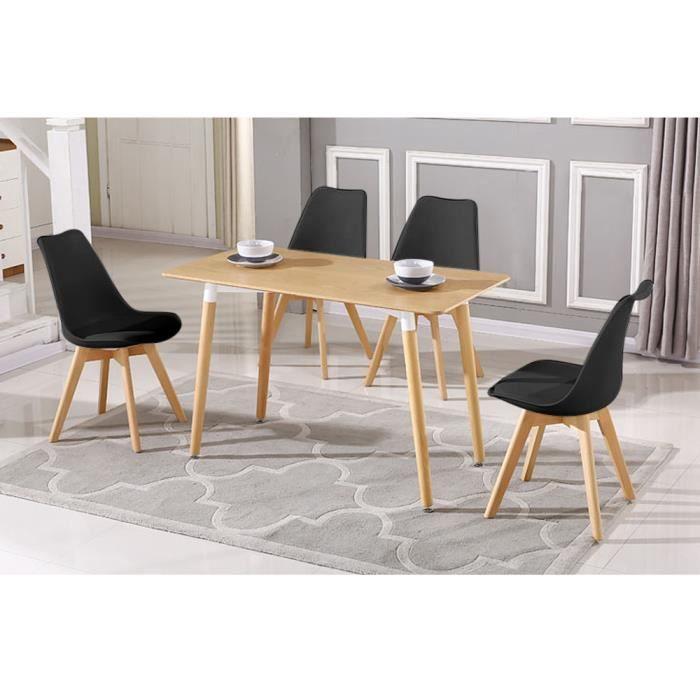 Table à Manger de 4-6 Personnes Scandinave avec Jambes Bois pour Salon Design Scandinave Moderne