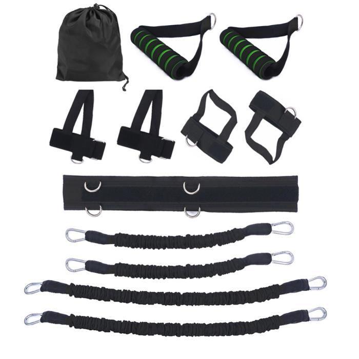 12 pcs-ensemble Bandes de Elastique Résistance pour entraînement de boxe Taille et Jambes exercice fitness Noir