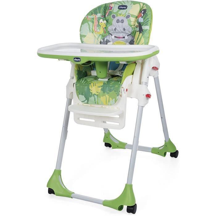 Chicco - Chaise Haute Bébé Polly Easy - 4 Roues - Réglable, Pratique et Compacte - Happy Jungle