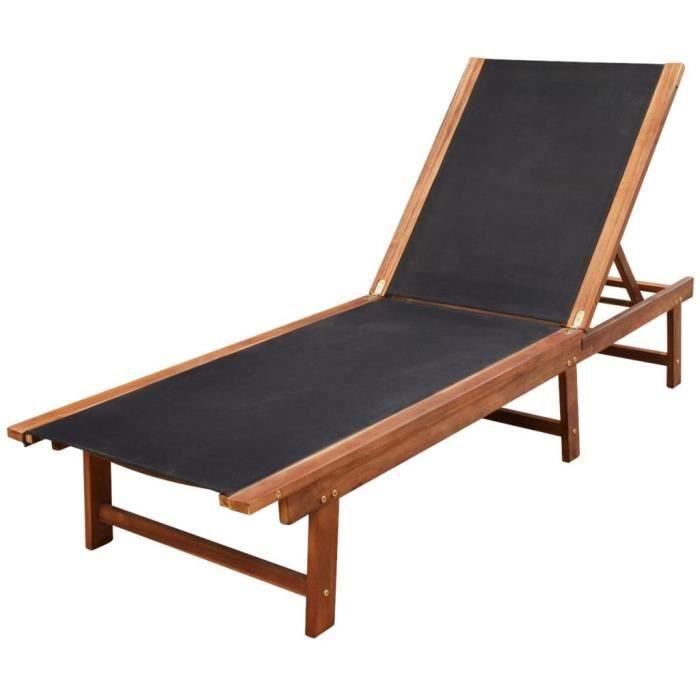 Chaise longue - Bois d'acacia solide et textilène