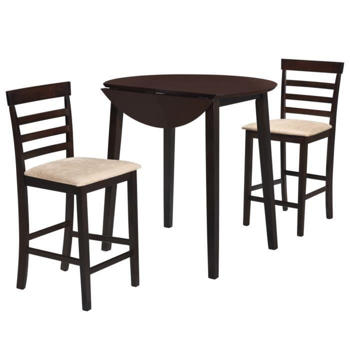 Jeu de table et chaise 3 pcs Bois massif Marron foncé