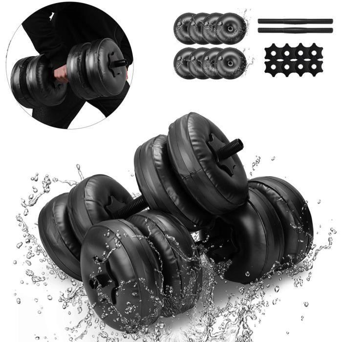 Haltère rempli d'eau Poids musculation Gymnase Exercice Muscle Bras Entraînement_LR026