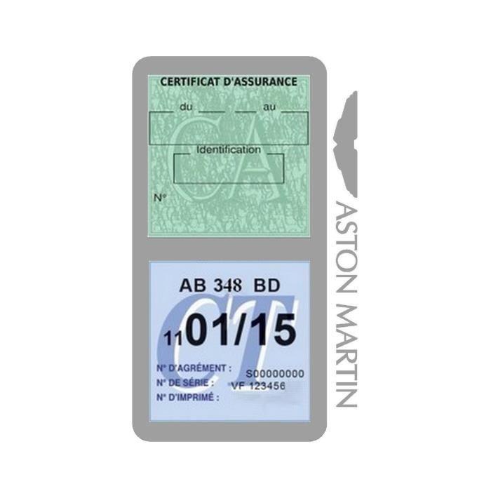 Double porte vignette assurance Aston Martin sticker adhésif couleur Gris