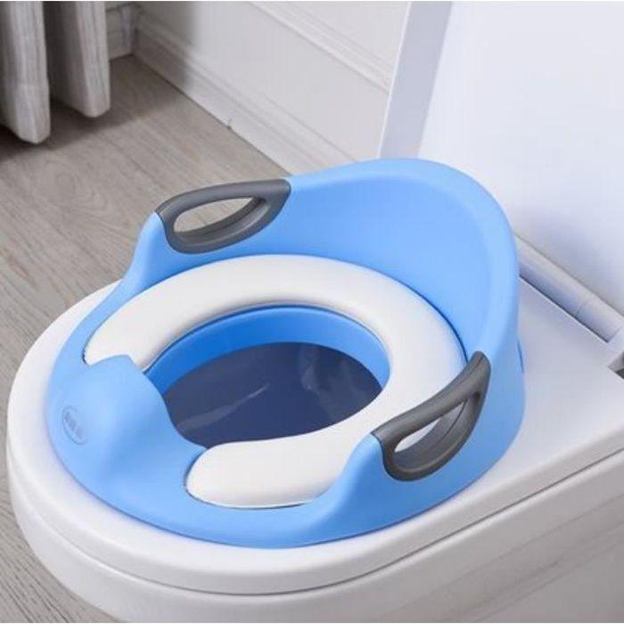 Bébé Réducteur de Toilette Rehausseur WC Enfant Siège de Toilette Avec Coussin Poignée Dossier Réducteur de WC Antidérapant Bleu