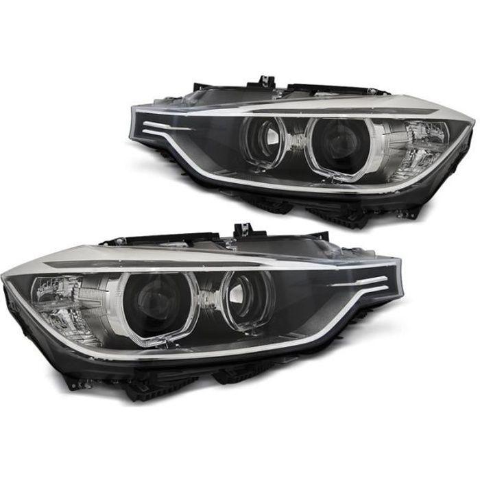Paire de feux phares BMW serie 3 F30 - F31 11-15 angel eyes led noir (MH1)