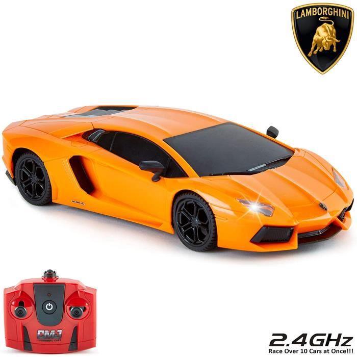 Voiture telecommandee CMJ RC Cars Lamborghini Aventador avec teacuteleacutecommande pour enfants avec lumiegraveres radio pilot86