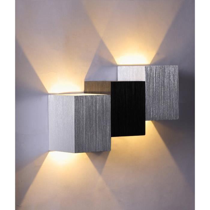Oomom Appliques Murales Modernes Escalier Forme 6W Intérieur vers le Bas pour Salon Couloir Salle à Manger(Blanc Chaude,Corps Cube)