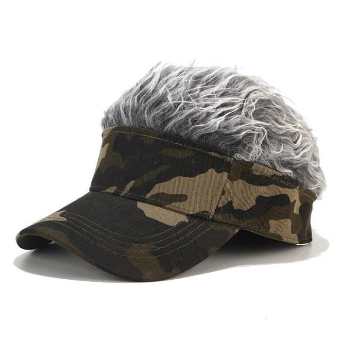 2019 nouveau chapeau unisexe drôle perruque casquette Flair cheveux visière décontracté Golf casquet Army Green-Silver Gr Free size