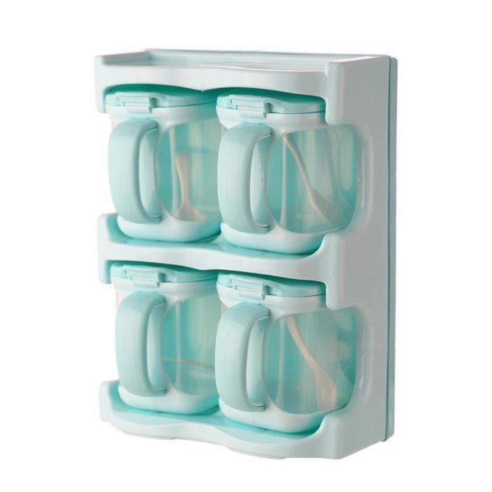 Pot a épices,Boîte d'assaisonnement en plastique, boîte à condiments support ustensiles de cuisine - Type 4 blue