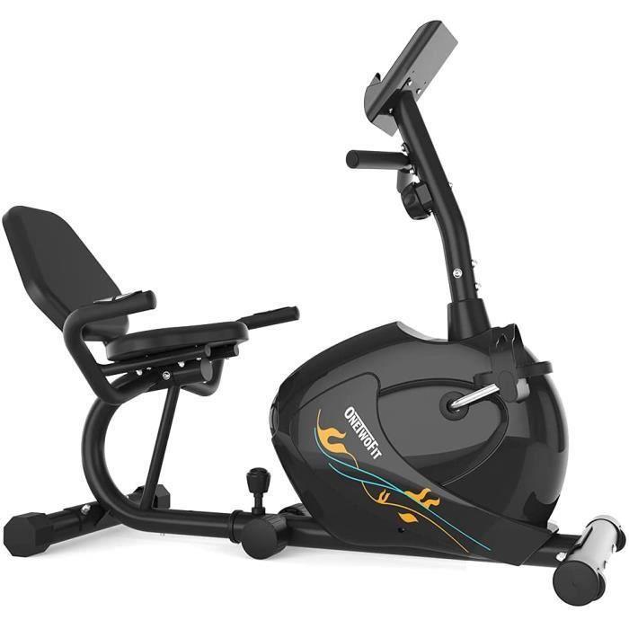 ONETWOFIT Vélo d'appartement Semi-Allongé, Vélo d'exercice couché magnétique avec 8 niveaux de résistance, Les Capteurs d'Impul21