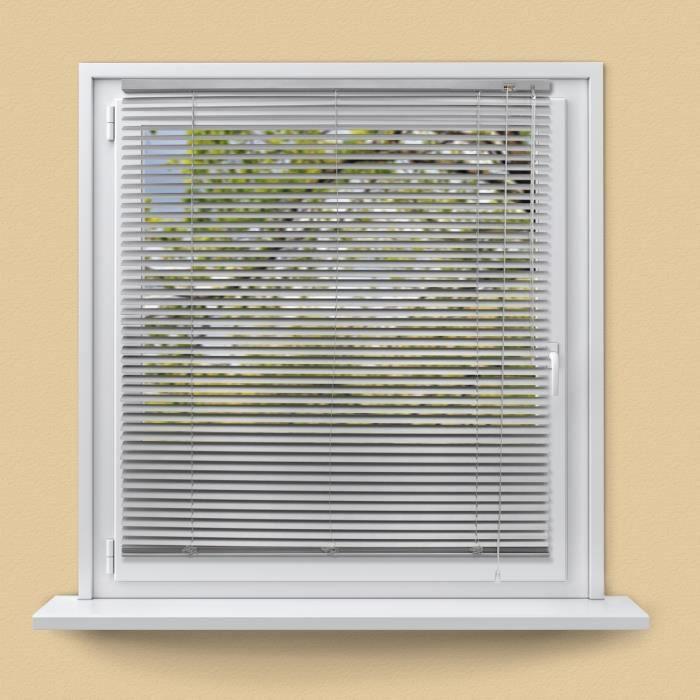 ECD Germany Store Vénitien Aluminium 120 x 220 cm - Argent - Ailettes en Aluminium - Protection Visible