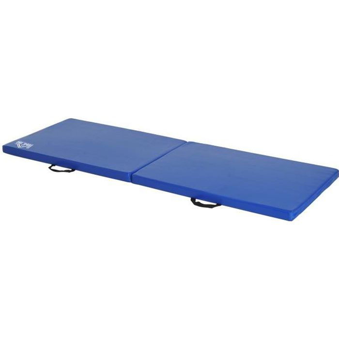 Tapis de gymnastique yoga pilates fitness pliable portable grand confort 180L x 60l x 5H cm simili cuir 180x60x5cm Bleu