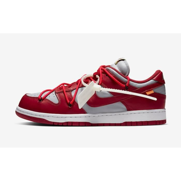 Basket Off-White x NIKEs Dunk Low TxT Chaussures de Running Femme homme Rouge blanc