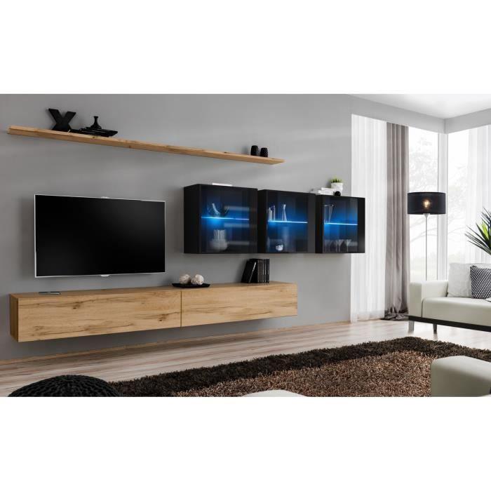 Ensemble meuble salon mural SWITCH XVII design, coloris chêne Wotan et noir brillant. 40 Marron