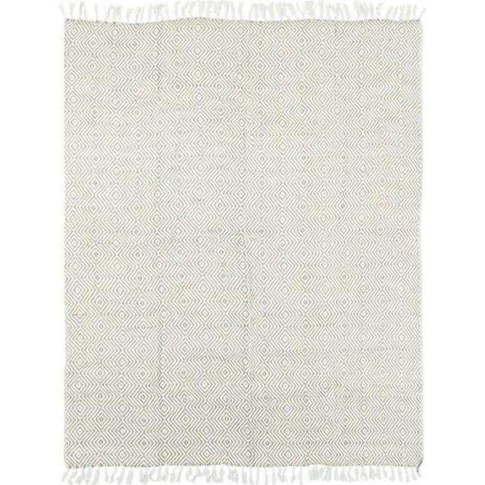 ESCAPADE - Plaid ethnique motif ikat blanc et beige 125x150