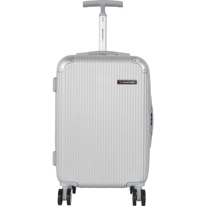 TRAVEL WORLD Valise cabine de week-end - 50 cm - Gris argenté