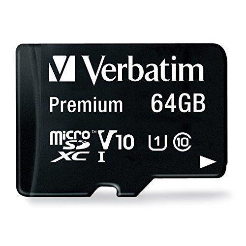 Verbatim 44084 64 Go Carte Mémoire MicroSDXC Classe 10 + Adaptateur Carte SD 44084