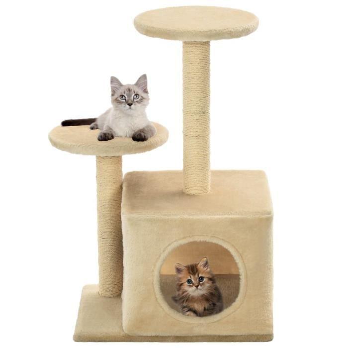 Arbre à chat avec griffoir en sisal 60 cm Beige - Accessoires pour chats - Meubles pour chats - Beige - Beige
