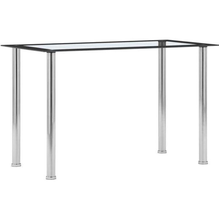 vidaXL Table à dîner Noir et transparent 120x60x75 cm Verre trempé