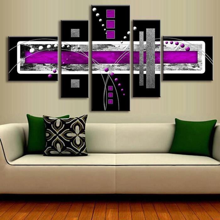 5 Pièce Non Encadrée Abstrait Peinture à L Huile Violet Noir